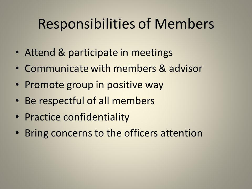 Responsibilities of Members
