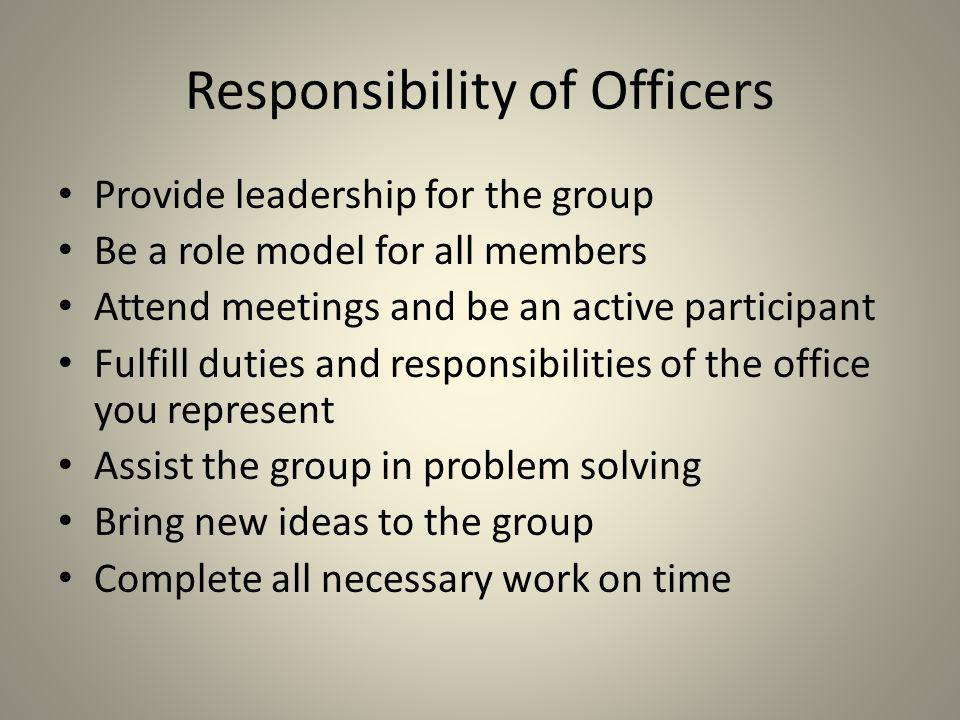 Responsibility of Officers