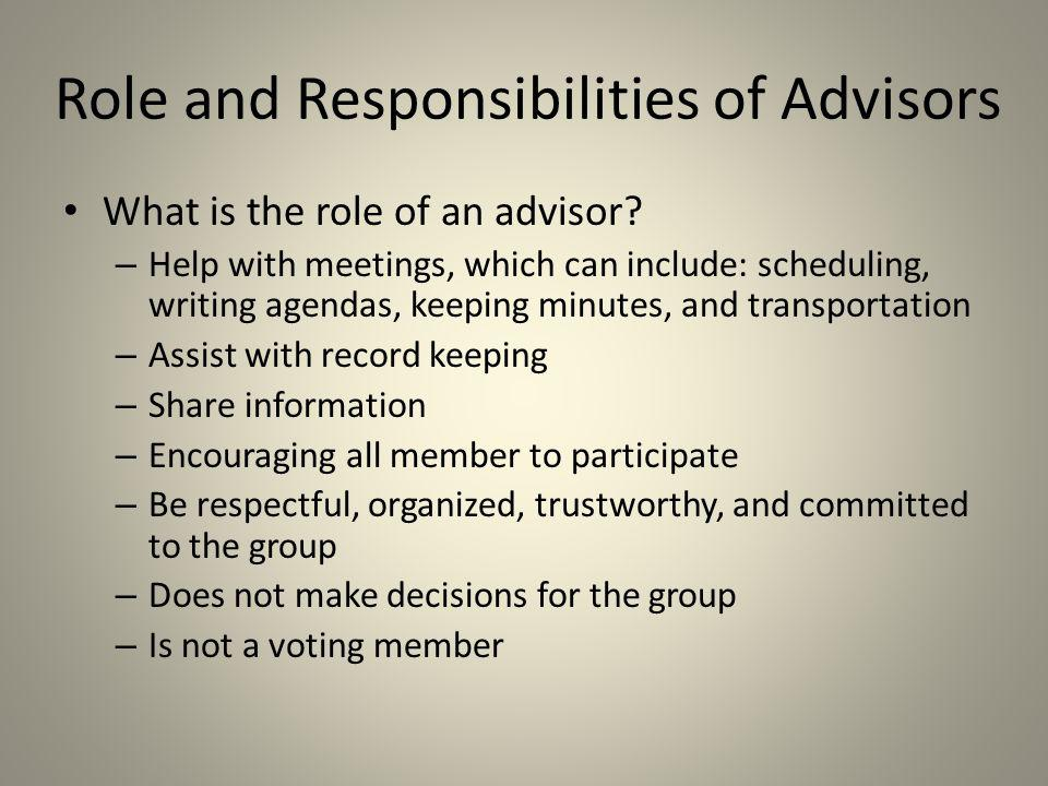 Role and Responsibilities of Advisors