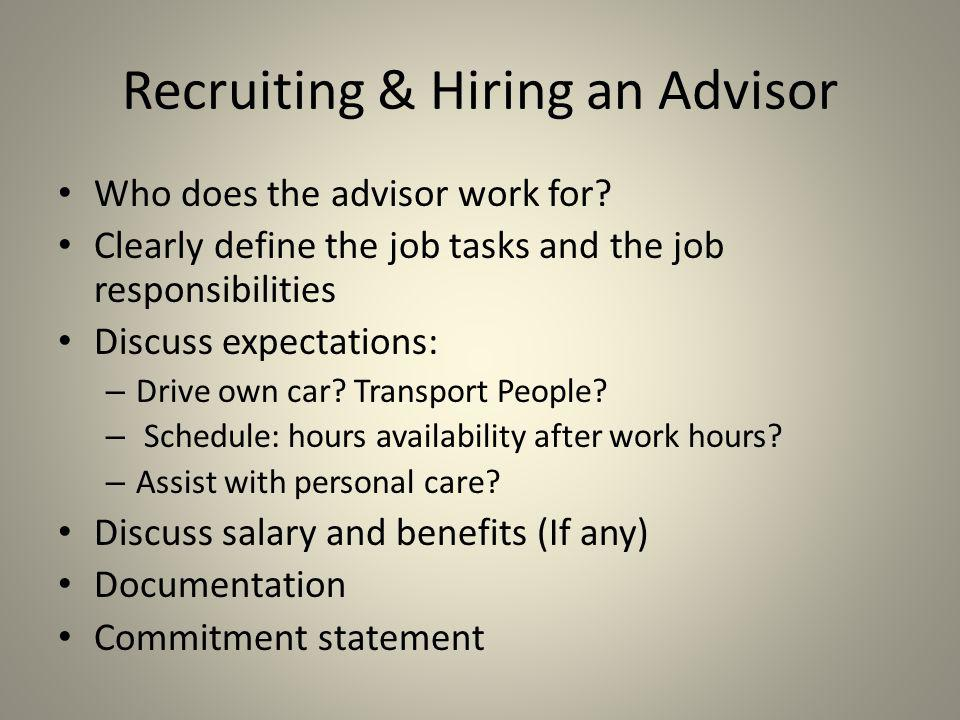 Recruiting & Hiring an Advisor