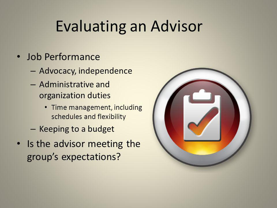 Evaluating an Advisor Job Performance