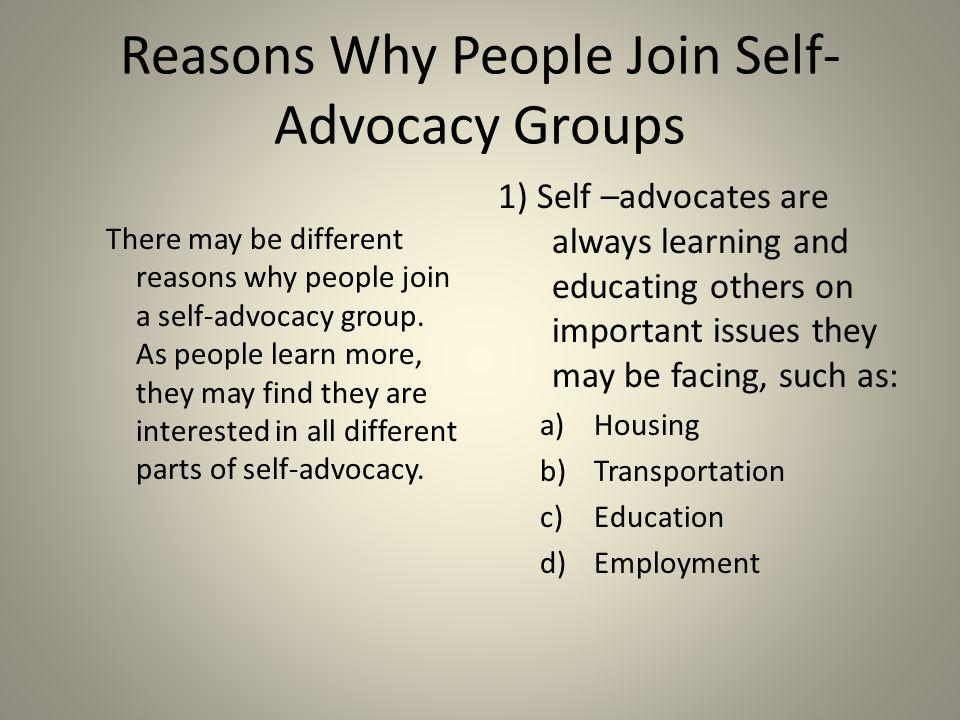 Reasons Why People Join Self-Advocacy Groups