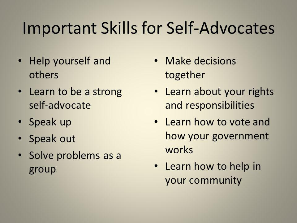 Important Skills for Self-Advocates