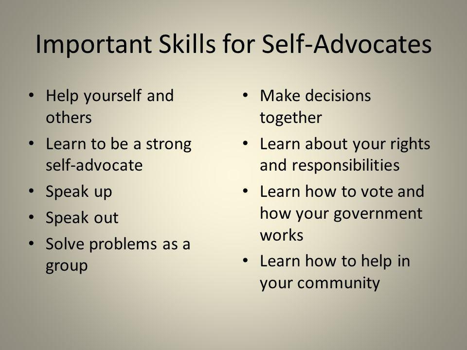Important Skills for Self-Advocates