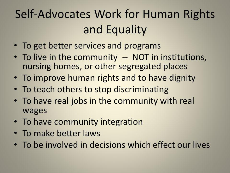 Self-Advocates Work for Human Rights and Equality