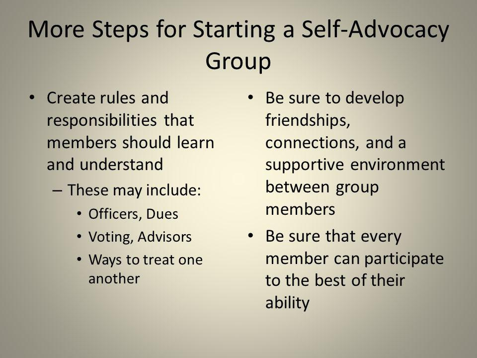 More Steps for Starting a Self-Advocacy Group