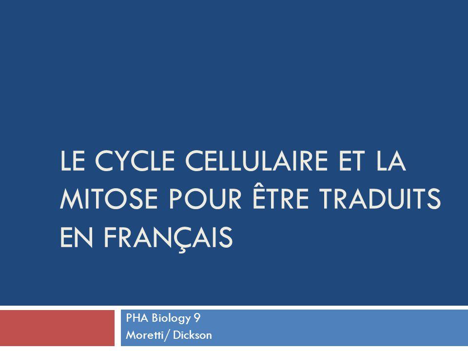 Le cycle cellulaire et la mitose Pour être traduits en français