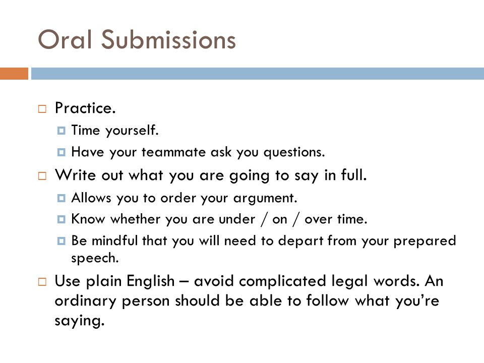 Oral Submissions Practice.