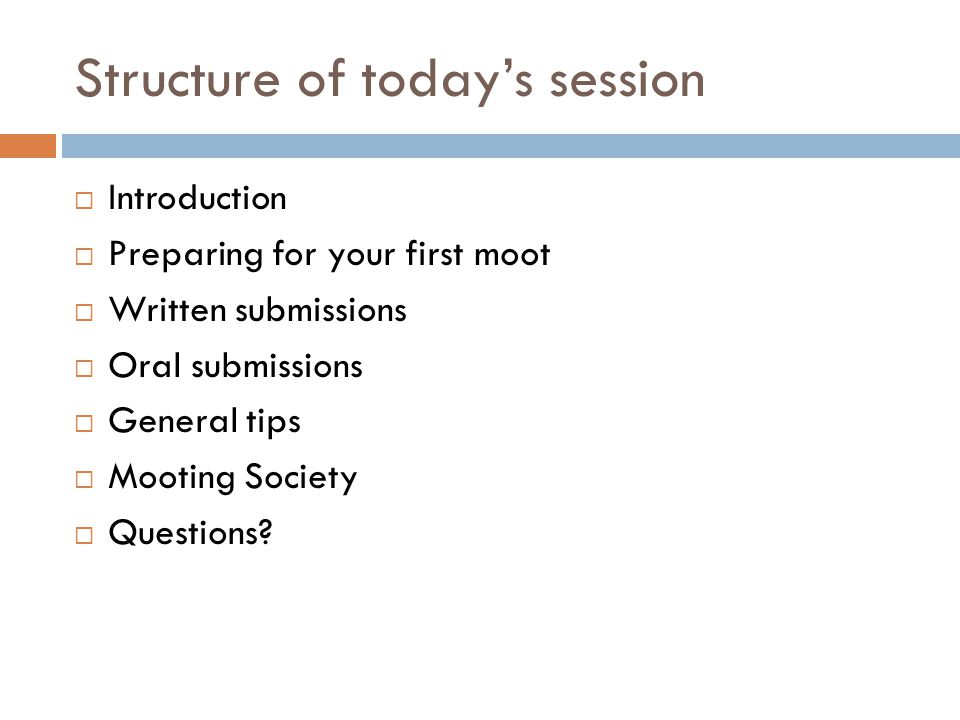 Structure of today's session