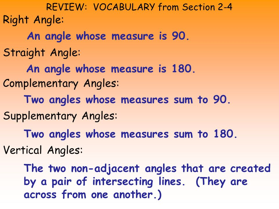 REVIEW: VOCABULARY from Section 2-4