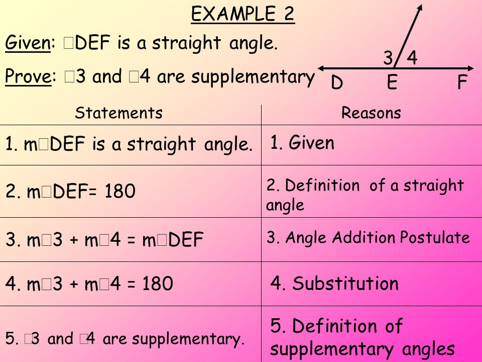 Given: ÐDEF is a straight angle. Prove: Ð3 and Ð4 are supplementary 3