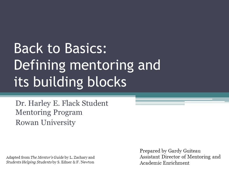Back to Basics: Defining mentoring and its building blocks