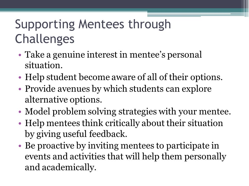 Supporting Mentees through Challenges