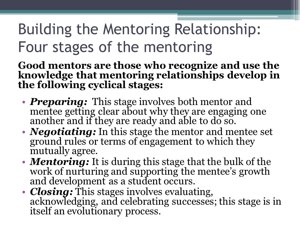 Building the Mentoring Relationship: Four stages of the mentoring