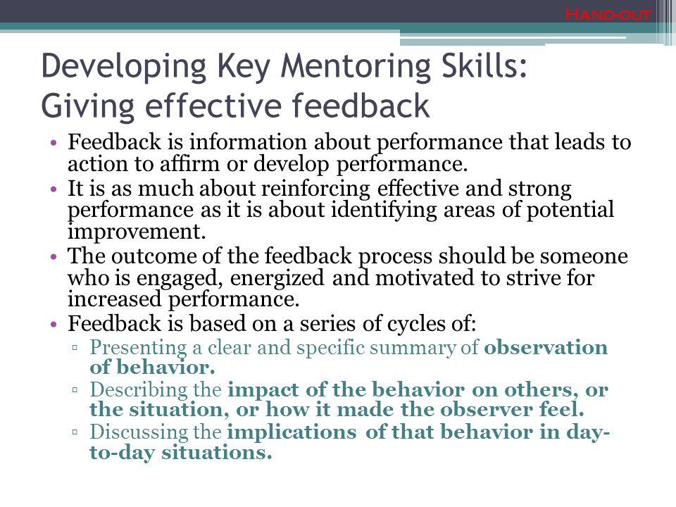 Developing Key Mentoring Skills: Giving effective feedback
