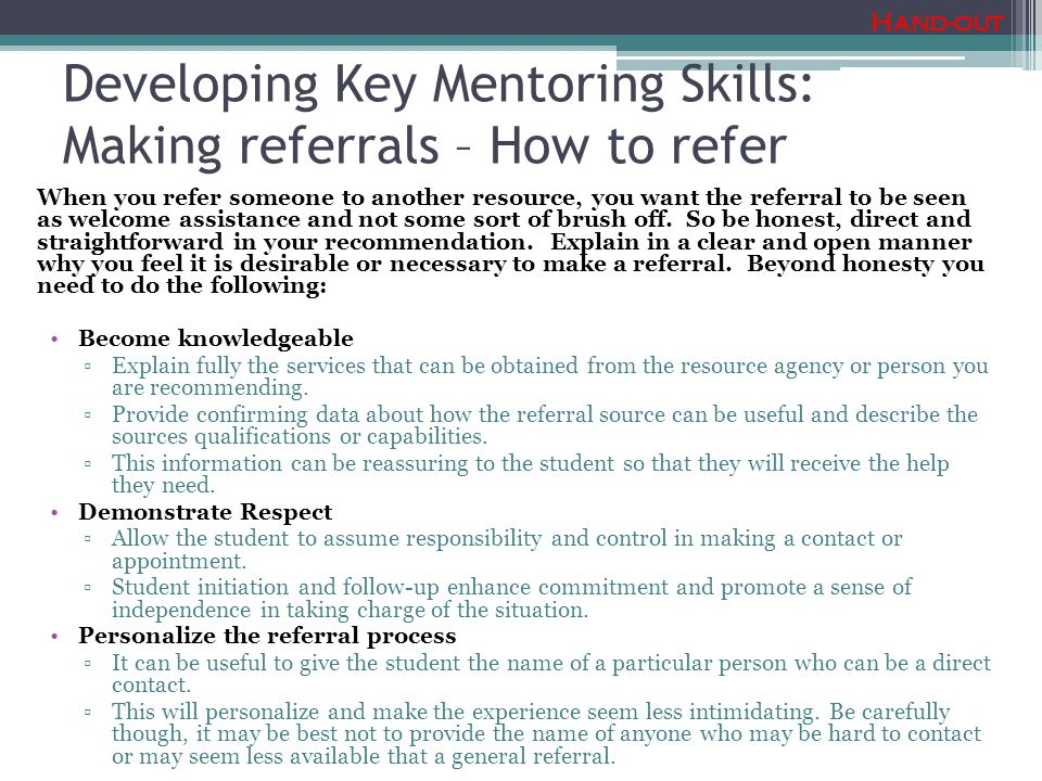 Developing Key Mentoring Skills: Making referrals – How to refer