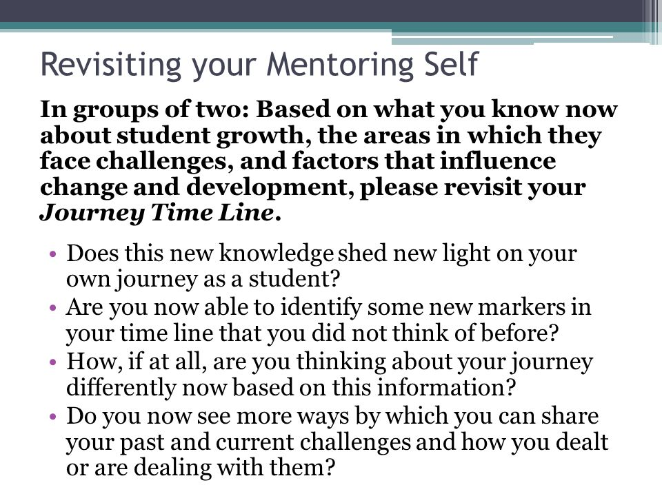 Revisiting your Mentoring Self