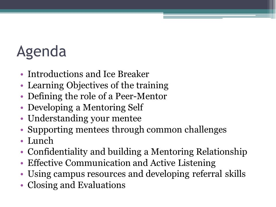 Agenda Introductions and Ice Breaker