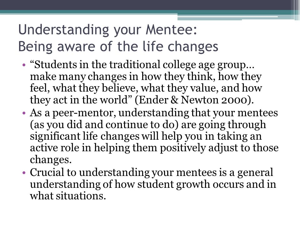 Understanding your Mentee: Being aware of the life changes