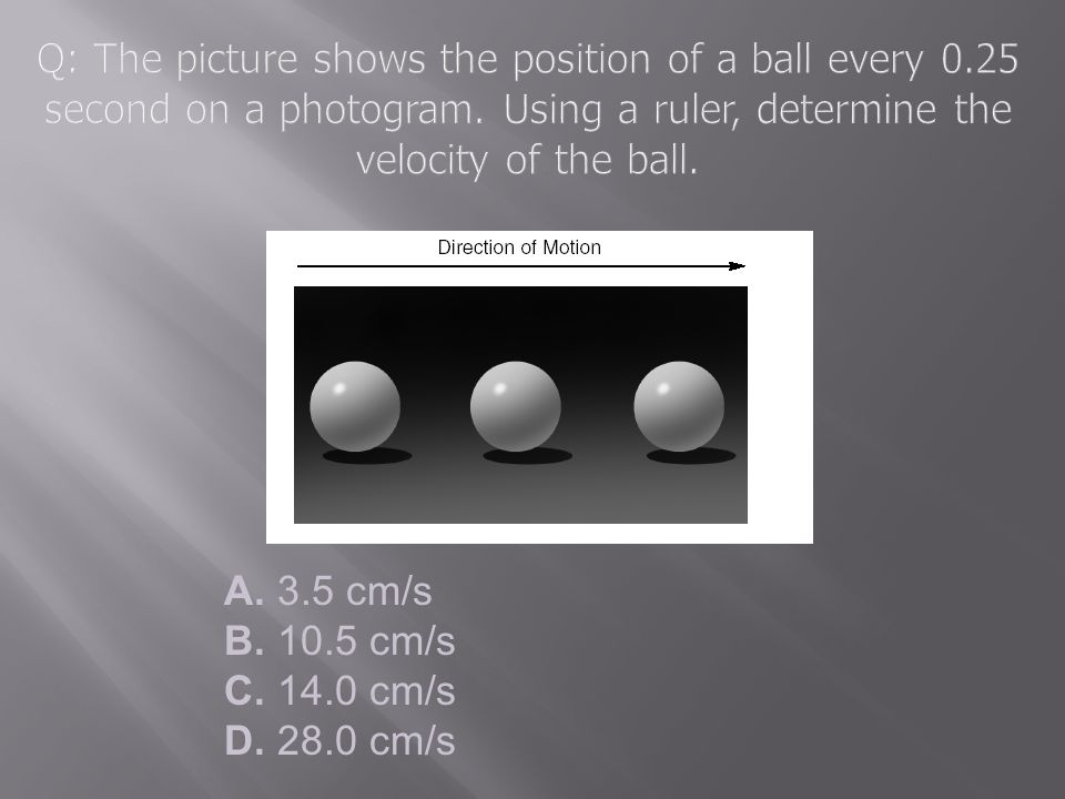 Q: The picture shows the position of a ball every 0