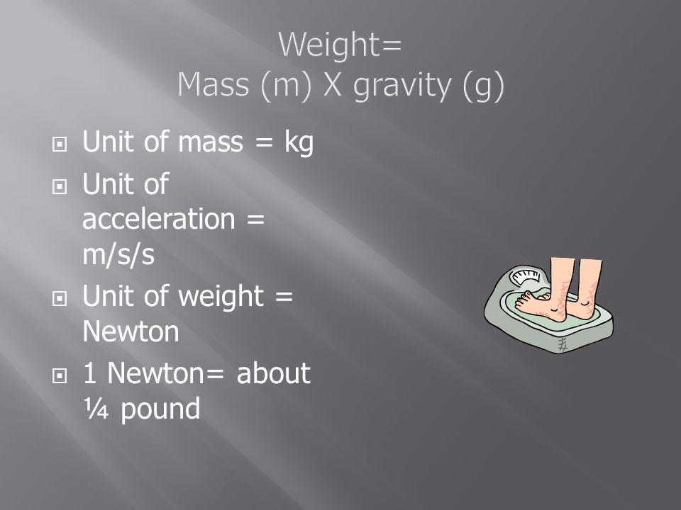 Weight= Mass (m) X gravity (g)