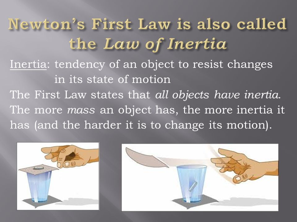 Newton's First Law is also called the Law of Inertia