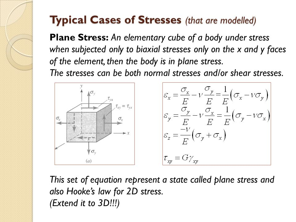 Typical Cases of Stresses (that are modelled)