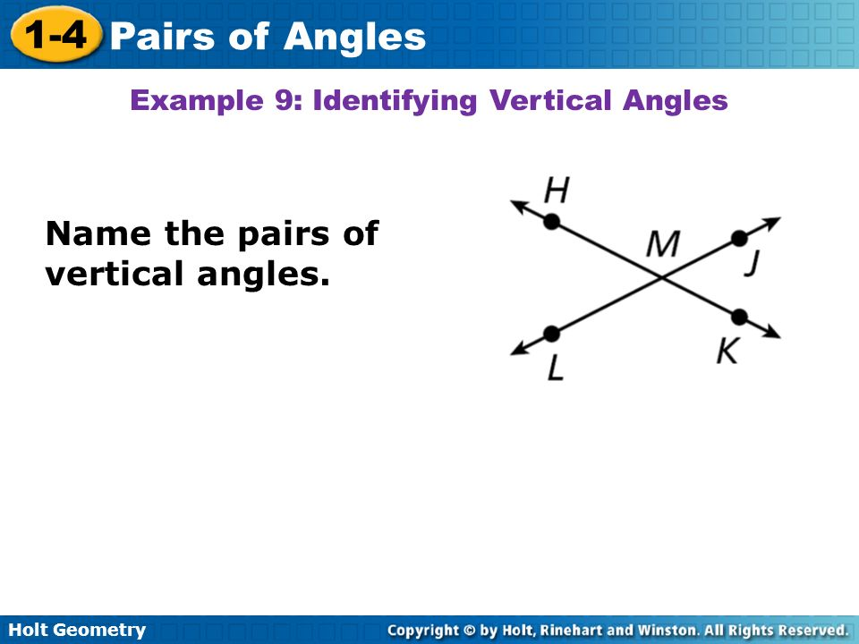 Example 9: Identifying Vertical Angles