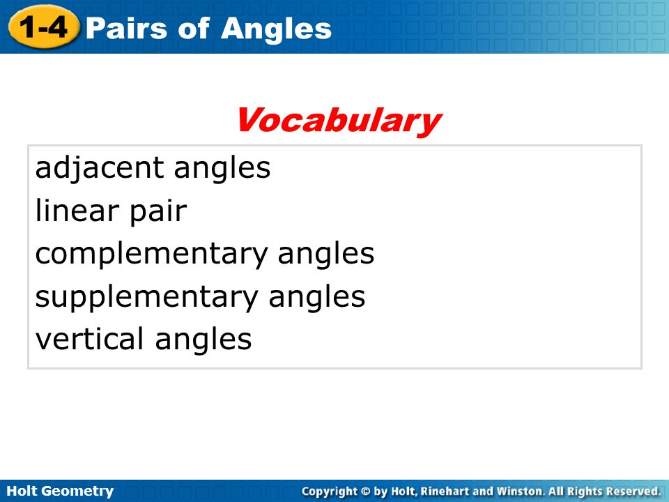 Vocabulary adjacent angles linear pair complementary angles