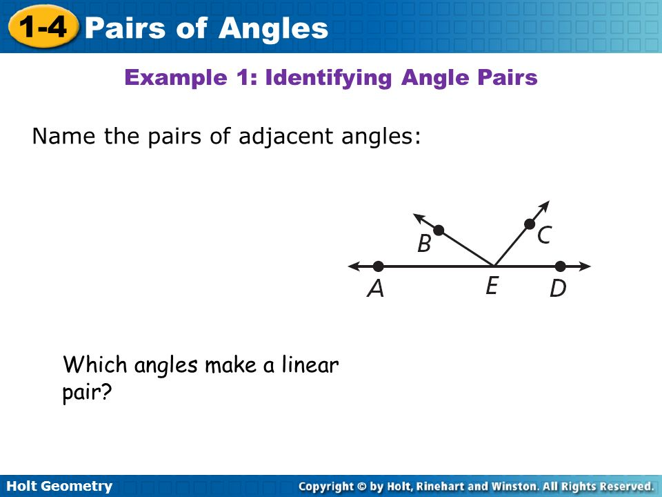 Example 1: Identifying Angle Pairs