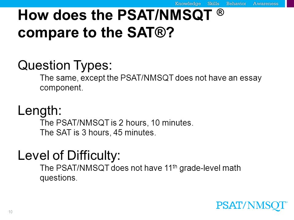 How does the PSAT/NMSQT ® compare to the SAT®