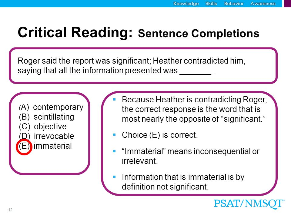 Critical Reading: Sentence Completions
