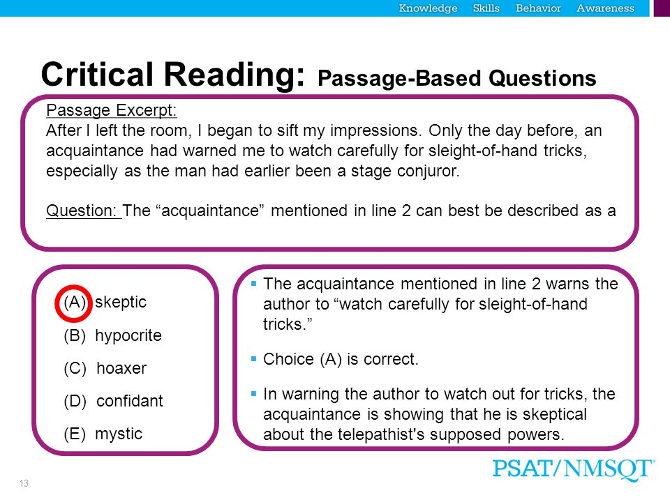 Critical Reading: Passage-Based Questions