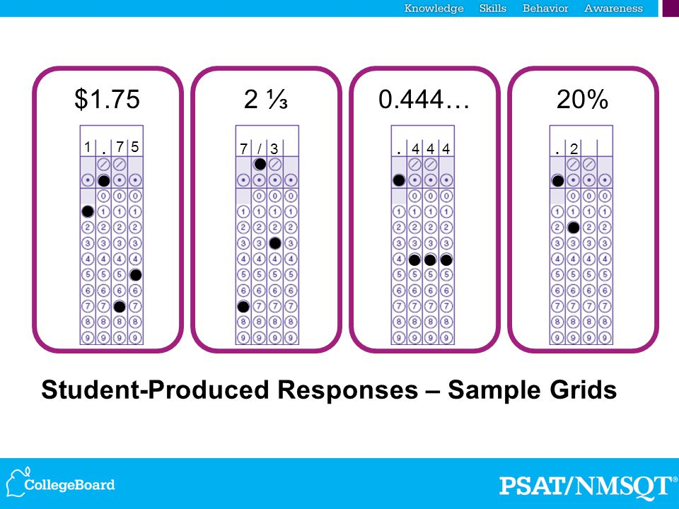 Student-Produced Responses – Sample Grids