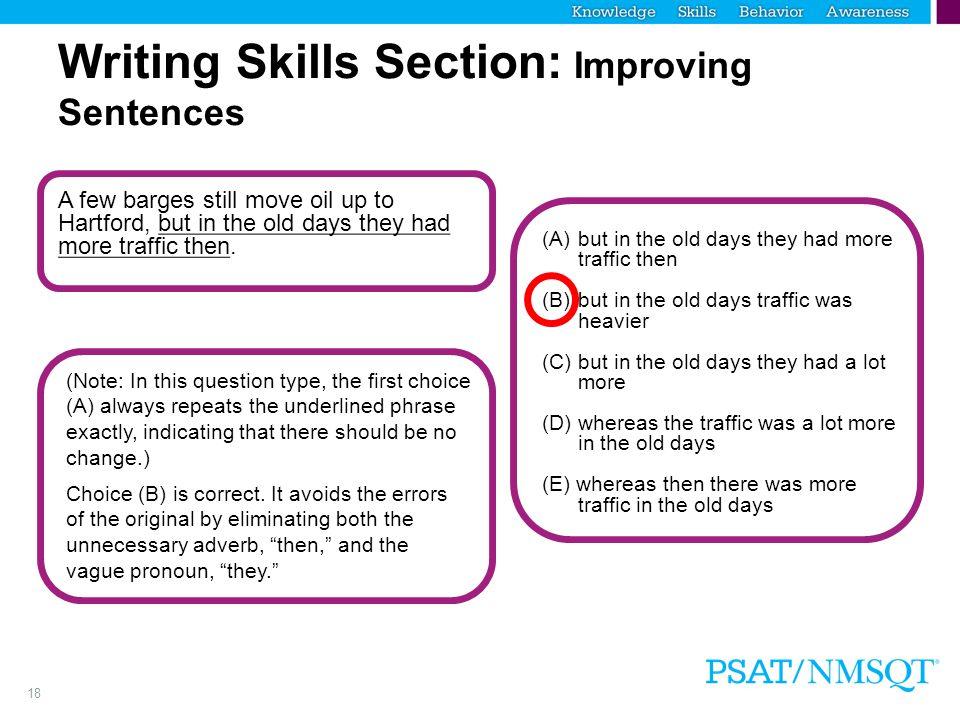 Writing Skills Section: Improving Sentences