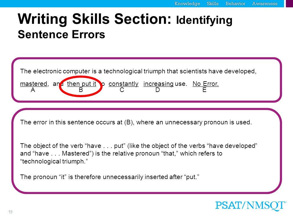 Writing Skills Section: Identifying Sentence Errors