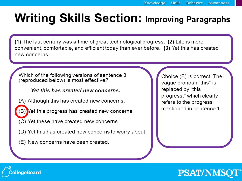 Writing Skills Section: Improving Paragraphs