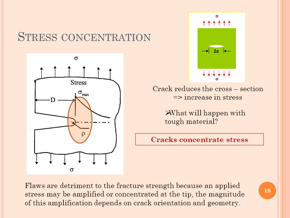 Cracks concentrate stress