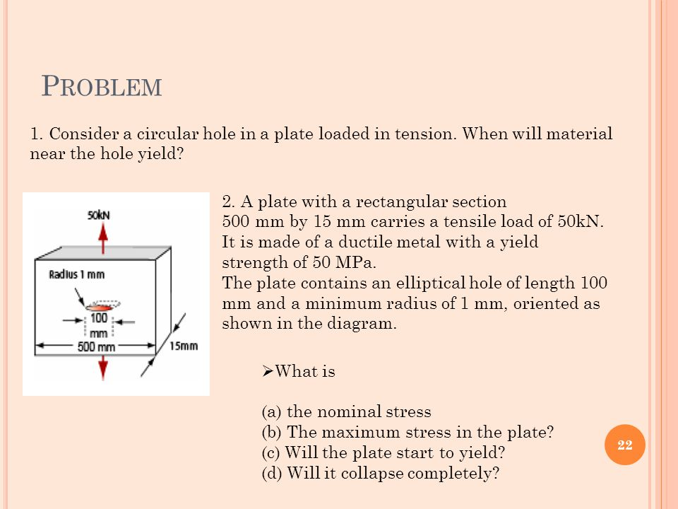Problem 1. Consider a circular hole in a plate loaded in tension. When will material near the hole yield