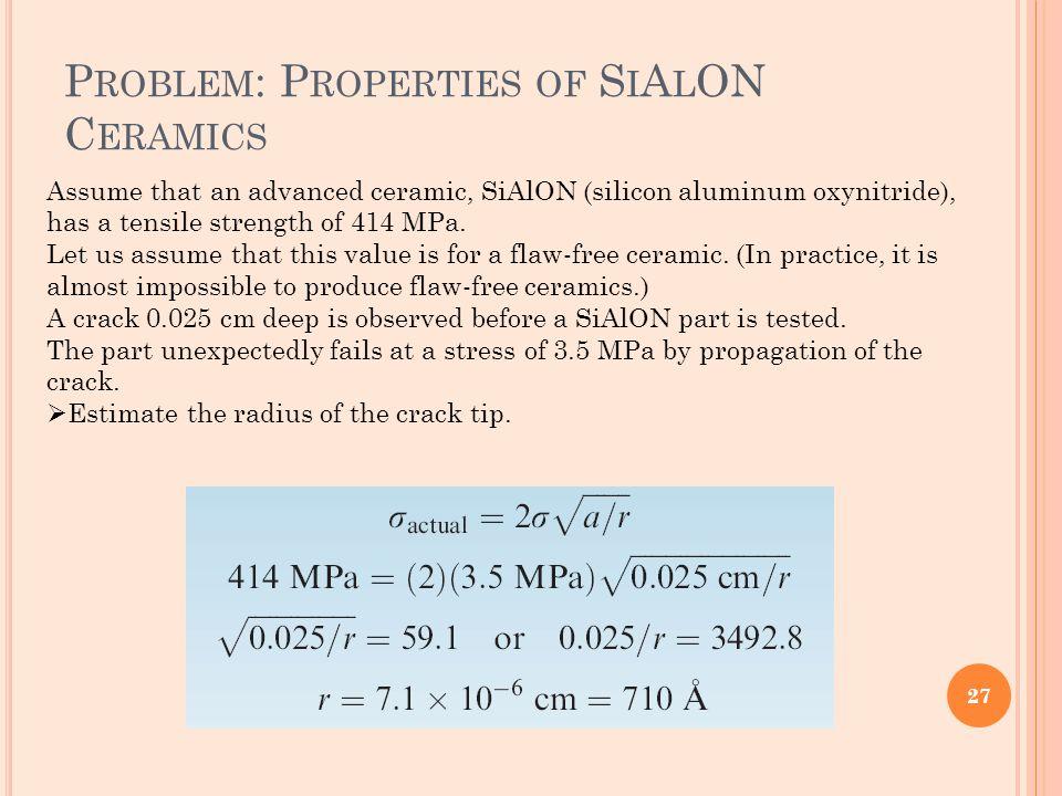 Problem: Properties of SiAlON Ceramics