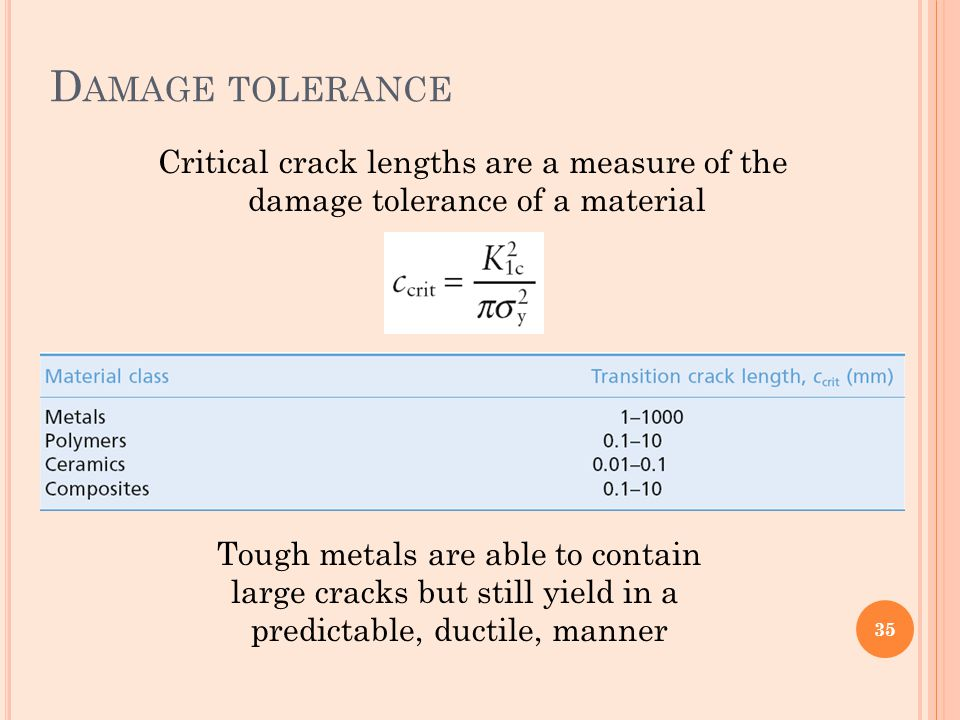 Damage tolerance Critical crack lengths are a measure of the