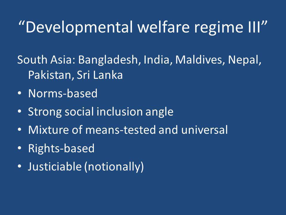 Developmental welfare regime III