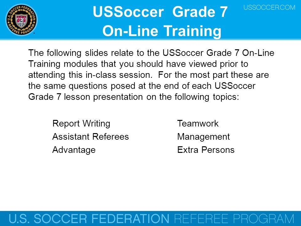 USSoccer Grade 7 On-Line Training