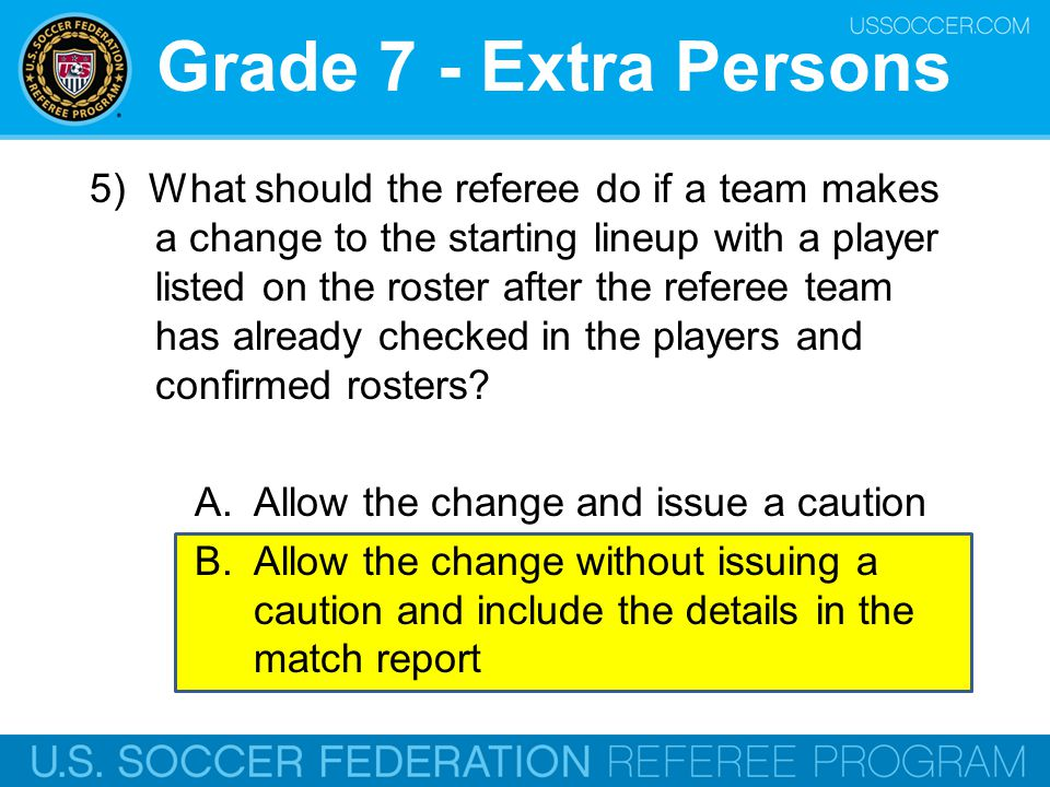 Grade 7 - Extra Persons