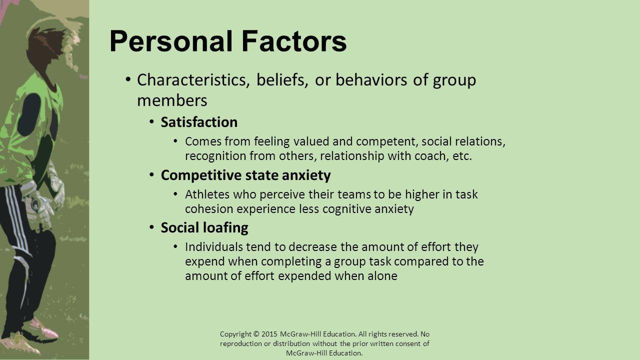 Personal Factors Characteristics, beliefs, or behaviors of group members. Satisfaction.