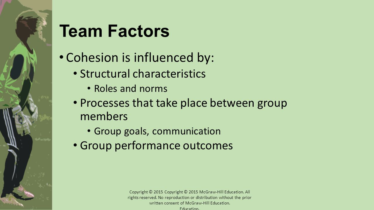 Team Factors Cohesion is influenced by: Structural characteristics