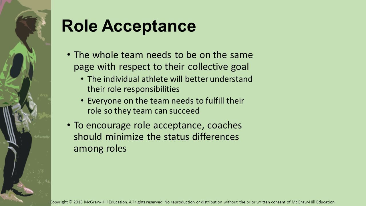 Role Acceptance The whole team needs to be on the same page with respect to their collective goal.