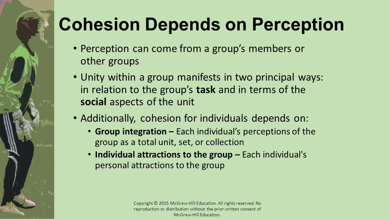 Cohesion Depends on Perception