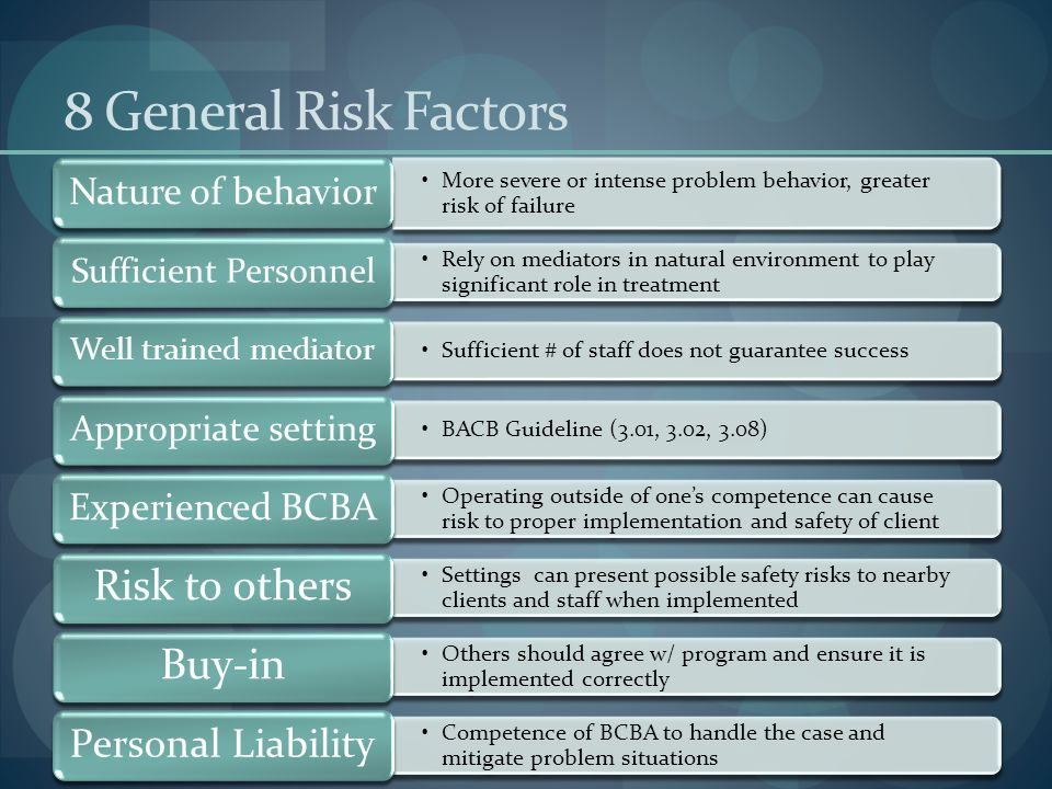 8 General Risk Factors Nature of behavior. More severe or intense problem behavior, greater risk of failure.