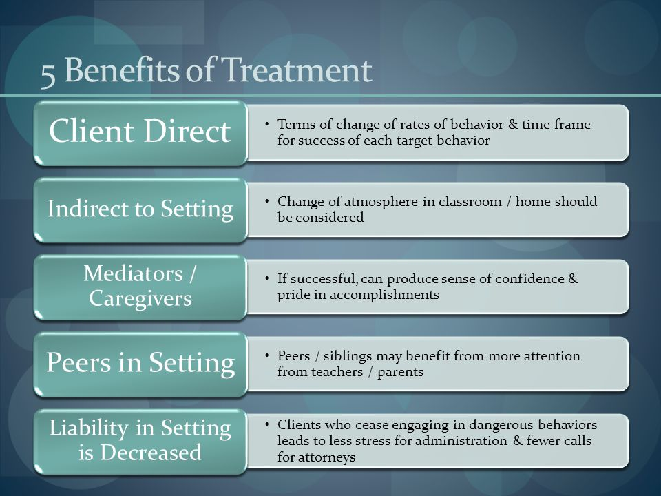 5 Benefits of Treatment Client Direct. Terms of change of rates of behavior & time frame for success of each target behavior.